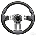 "Steering Wheel, Aviator 5 Carbon Fiber Grip/Brushed Aluminum Spokes 13"" Diameter"