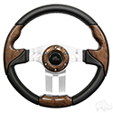 "Steering Wheel, Aviator 5 Woodgrain Grip/Brushed Aluminum Spokes 13"" Diameter"