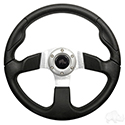 "Steering Wheel, Formula GT Black Grip/Brushed Aluminum Spokes 13"" Diameter"