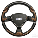 "Steering Wheel, Bonneville Woodgrain Grip/Black Spokes 13"" Diameter"