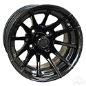 RX104, 12 Spoke, Black w/ Center Cap, 12x7 ET-25