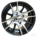 RX105, 12 Spoke, Machined w/Black w/ Center Cap, 12x6 Centered