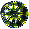 RHOX Vegas, Black w/ Green w/ Center Cap, 10x7 ET-25
