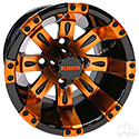 RHOX Vegas, Black w/ Orange w/ Center Cap, 10x7 ET-25